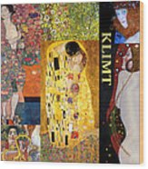 Klimt Collage Wood Print