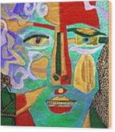 Klimt Face Wood Print by Diane Fine