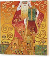Klimt Santa Wood Print
