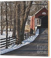 Knecht's Bridge On Snowy Day - Bucks County Wood Print