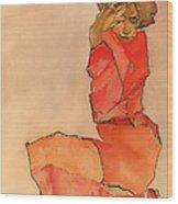 Kneeling Female In Orange-red Dress Wood Print