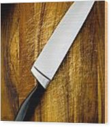 Knife On Chopping Board Wood Print
