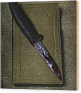 Knife With Book Wood Print