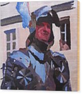 Knight In Full Armor During Parade Wood Print
