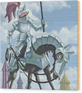 Knight In Shining Armour On Horesback Wood Print