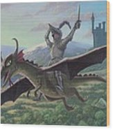 Knight Riding On Flying Dragon Wood Print by Martin Davey