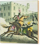 Knights Jousting Wood Print