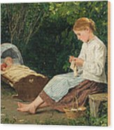 Knitting Girl Watching The Toddler In A Craddle Wood Print