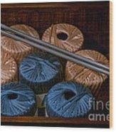 Knitting Yarn In A Wooden Box Wood Print
