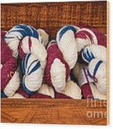Knitting Yarn In Patriotic Colors Wood Print