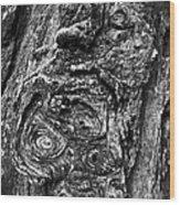 Knots And Swirls Bw Wood Print