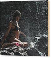 Knowledge. Anna At Eureka Waterfalls. Mauritius Wood Print