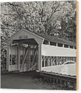 Knox Covered Bridge In Sepia Wood Print