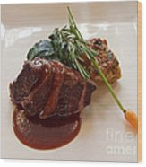 Kobe Beef With Spring Spinach And A Wild Mushroom Bread Pudding Wood Print