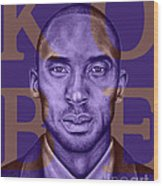 Kobe Bryant Lakers' Purple Wood Print by Rabab Ali