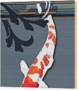 Kohaku Koi With Decorative Flourish Wood Print
