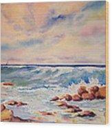 Kohala Coast Surf Wood Print
