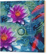 Koi And The Water Lilies Wood Print