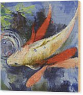 Koi And Water Ripples Wood Print by Michael Creese