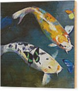 Koi Fish And Butterflies Wood Print by Michael Creese