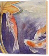 Koi In A Lily Pond 11 Wood Print