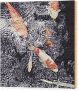 Koi In The Rain Wood Print
