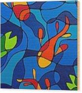 Koi Joi - Blue And Red Fish Print Wood Print