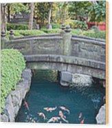 Koi Pond In Senso-ji Temple Grounds Wood Print