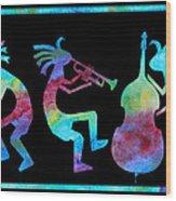 Kokopelli Jazz Trio Wood Print