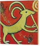 Kokopelli's Goat Tribal Trickster Wood Print