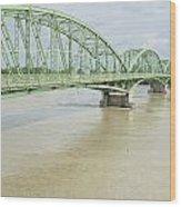 Komarom Bridge Over Flooding Danube River Wood Print