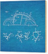 Komenda Vw Beetle Body Design Patent Art 1942 Blueprint Wood Print