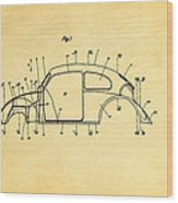 Komenda Vw Beetle Body Design Patent Art 1944 Wood Print by Ian Monk