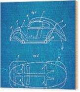 Komenda Vw Beetle Official German Design Patent Art Blueprint Wood Print by Ian Monk
