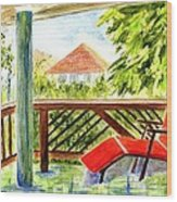 Kona View From The Deck Wood Print