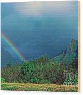 Koolau Mountains And Rainbow Wood Print