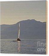 Kootenay Lake Sailing Wood Print