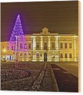Koprivnica Night Street Christmas Scene Wood Print