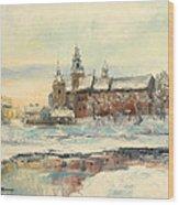 Krakow - Wawel Castle Winter Wood Print