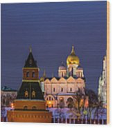 Kremlin Cathedrals At Night - Featured 3 Wood Print