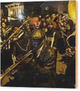 Krewe Du Vieux Parade In New Orleans Wood Print by Louis Maistros