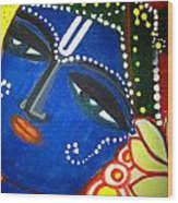 Krishna Folk Art  Wood Print