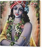 Krishna -forest Boy Wood Print