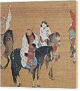 Kublai Khan Hunting Wood Print