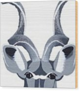 Kudu White Wood Print