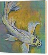 Kujaku Butterfly Koi Wood Print