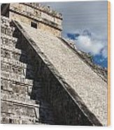 Kukulkan Pyramid Shadows Wood Print
