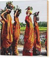 Kumaoni Ladies Wood Print by Ankeeta Bansal