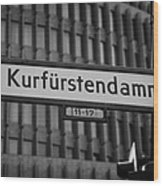 Kurfurstendamm Street Sign Berlin Germany Wood Print by Joe Fox