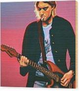 Kurt Cobain In Nirvana Painting Wood Print
